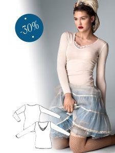 Langarmshirt mit Couturestickerei
