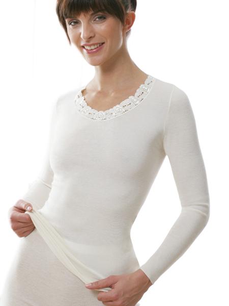 Damen Unterhemd langarm mit Spitze