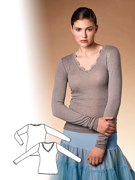 Shirt mit Spitze / extra Langarm