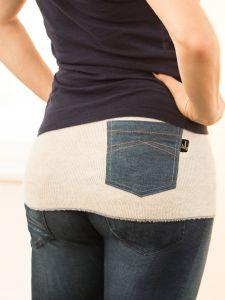 Rückenwärmer mit Jeanstasche
